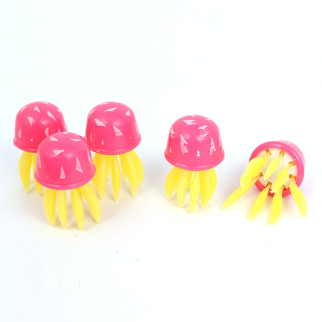 5Pcs Pink Simulated Manmade Swing Tail Movable Octopus Shape Ornament for Fish Tank