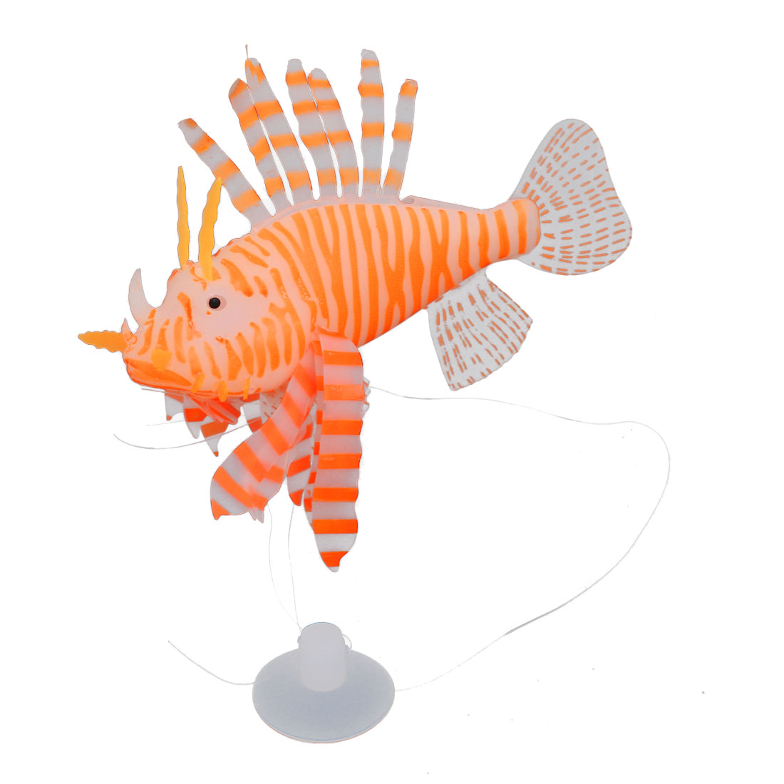 Orange Simulated Artificial Silicone Lionfish Ornament for Aquarium