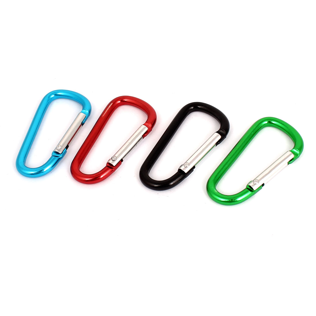 Travelling Camping Hiking Clip Hook D-Ring Keychain Carabiner 4Pcs Multicolor