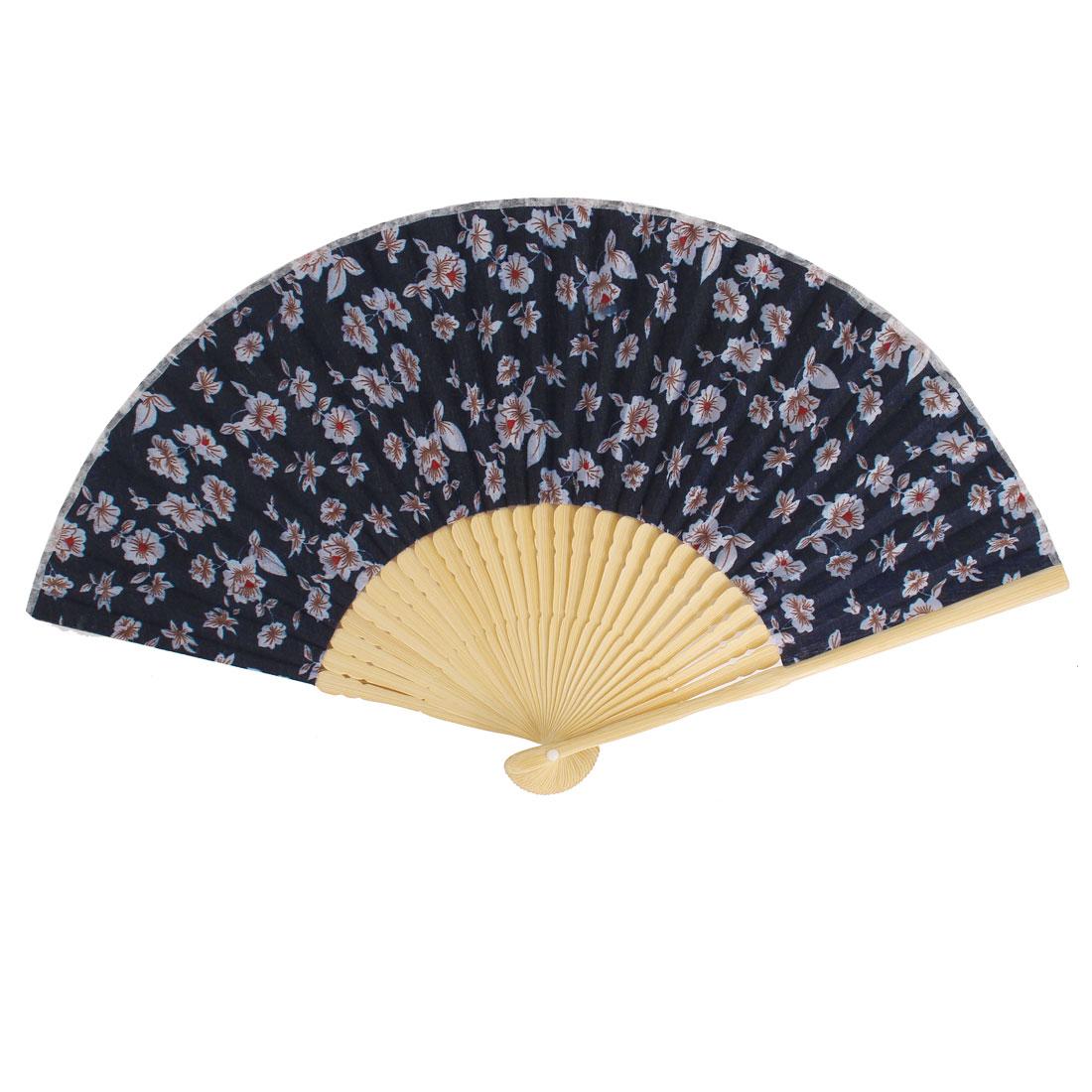 Flowers Pattern Bamboo Frame Dancing Home Party Folding Hand Fan Deep Blue