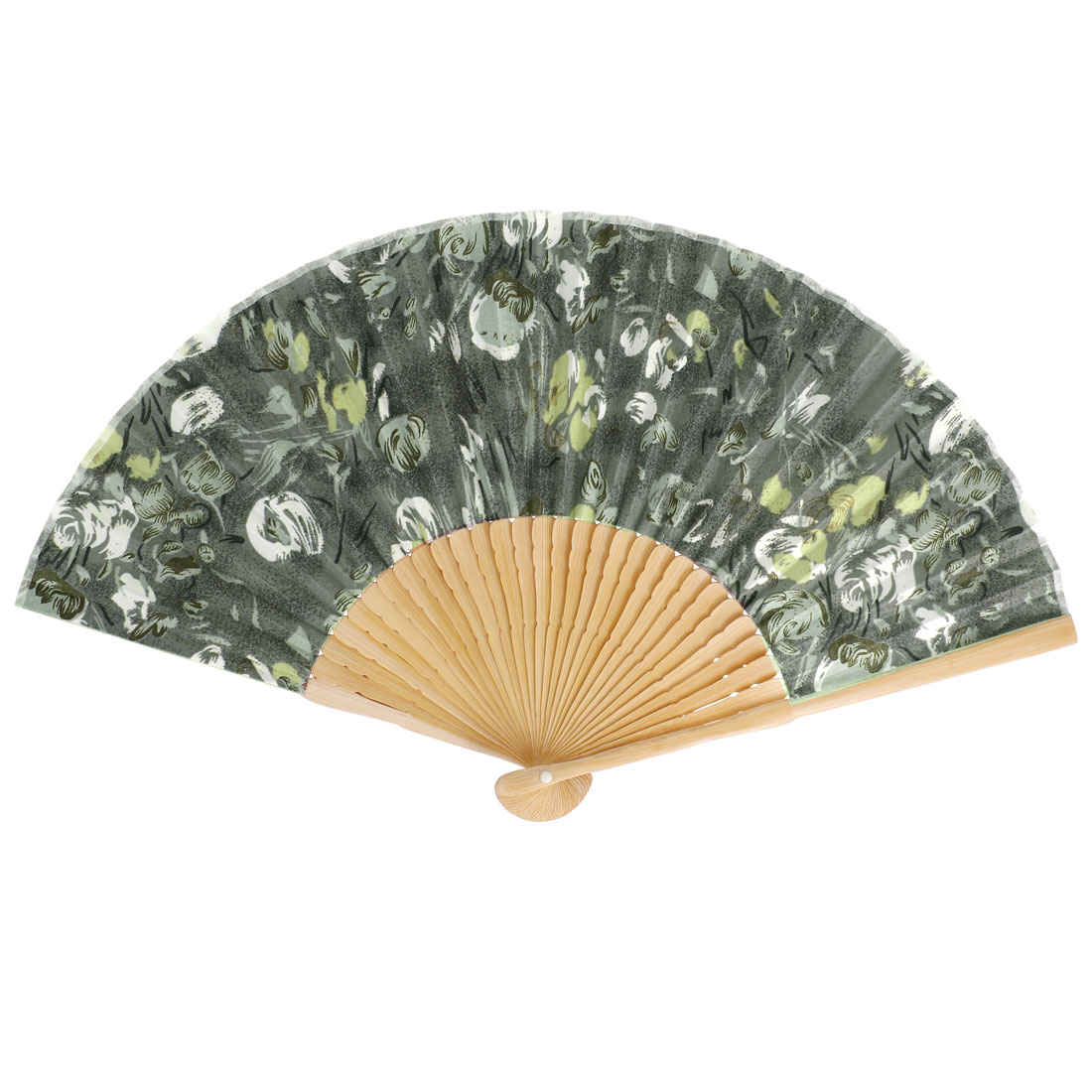 Bamboo Frame Flowers Pattern Dancing Home Party Folding Hand Fan Gray
