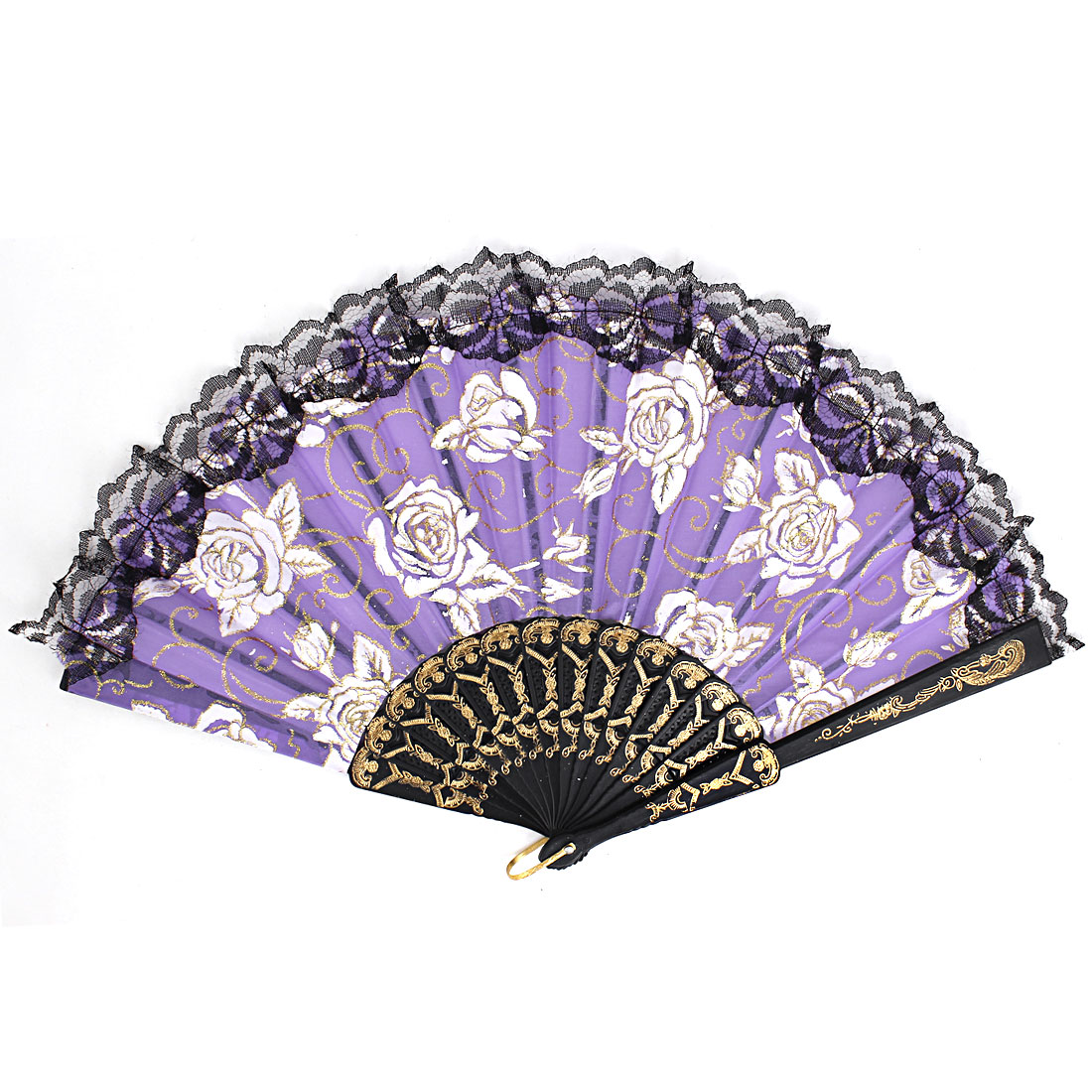 Plastic Frame Flowers Pattern Lace Rim Dancing Party Folding Hand Fan Purple