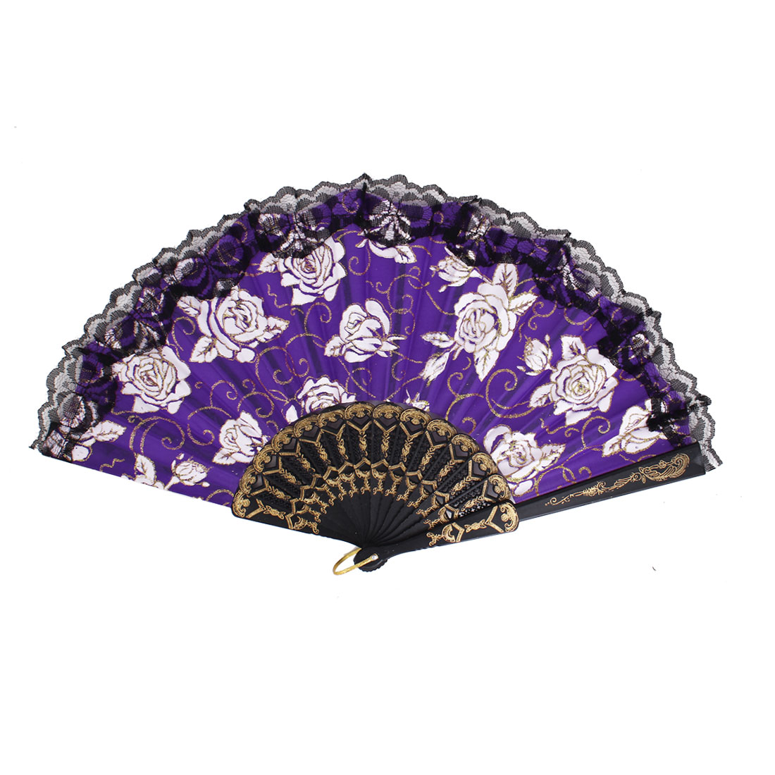Plastic Frame Flowers Pattern Lace Rim Wedding Party Folding Hand Fan Purple