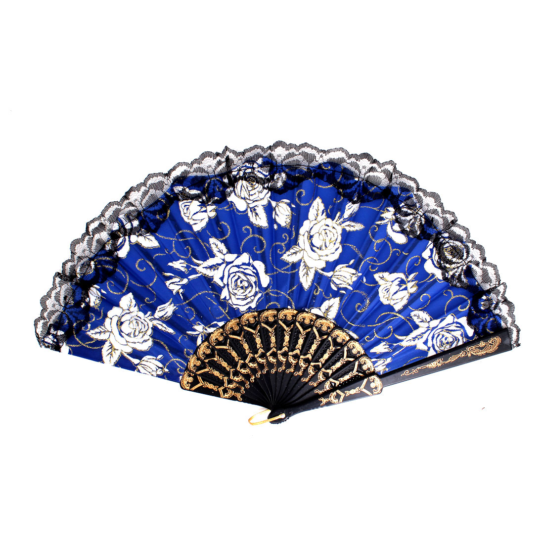 Plastic Frame Flowers Pattern Lace Rim Dancing Party Folding Hand Fan Blue
