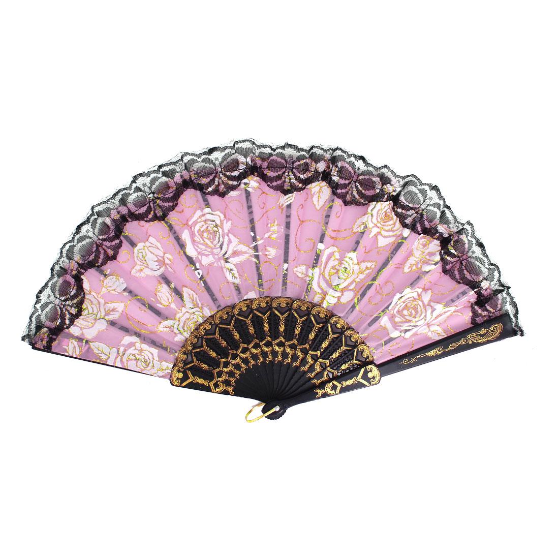 Plastic Frame Flowers Pattern Lace Rim Dancing Party Folding Hand Fan Pink