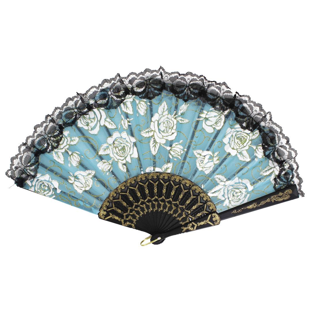 Plastic Frame Flowers Pattern Lace Rim Dancing Party Folding Hand Fan Light Blue
