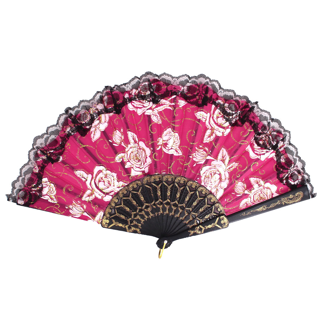 Plastic Frame Flowers Pattern Lace Rim Dancing Party Folding Hand Fan Red