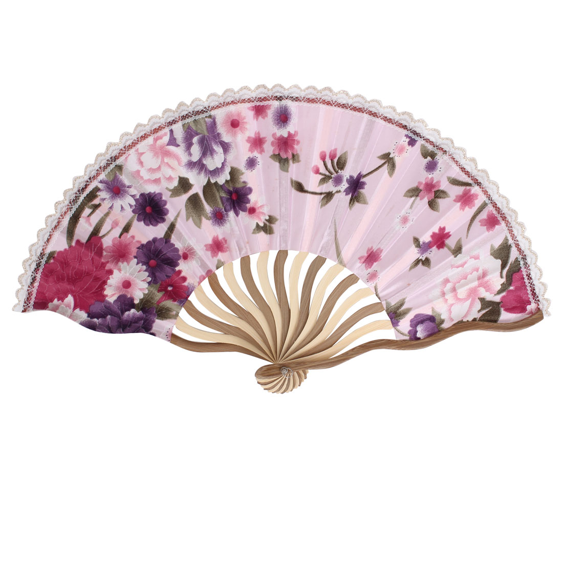 Wood Frame Flowers Pattern Lace Rim Dancing Party Folding Hand Fan Light Pink