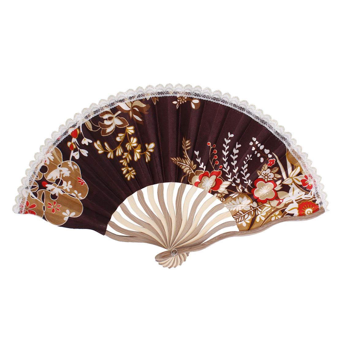 Wood Frame Flowers Pattern Lace Rim Dancing Party Folding Hand Fan Gray