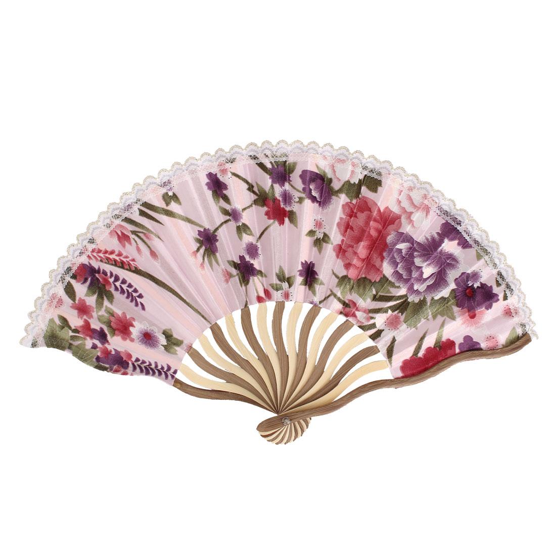 Wood Frame Flowers Pattern Lace Rim Dancing Party Folding Hand Fan Pink