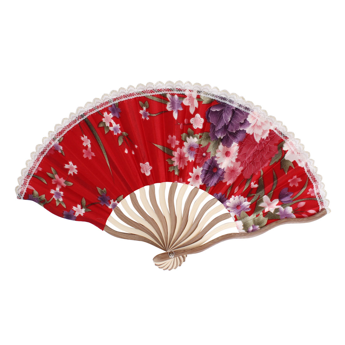 Flowers Pattern Lace Rim Wood Frame Dancing Party Folding Hand Fan Red