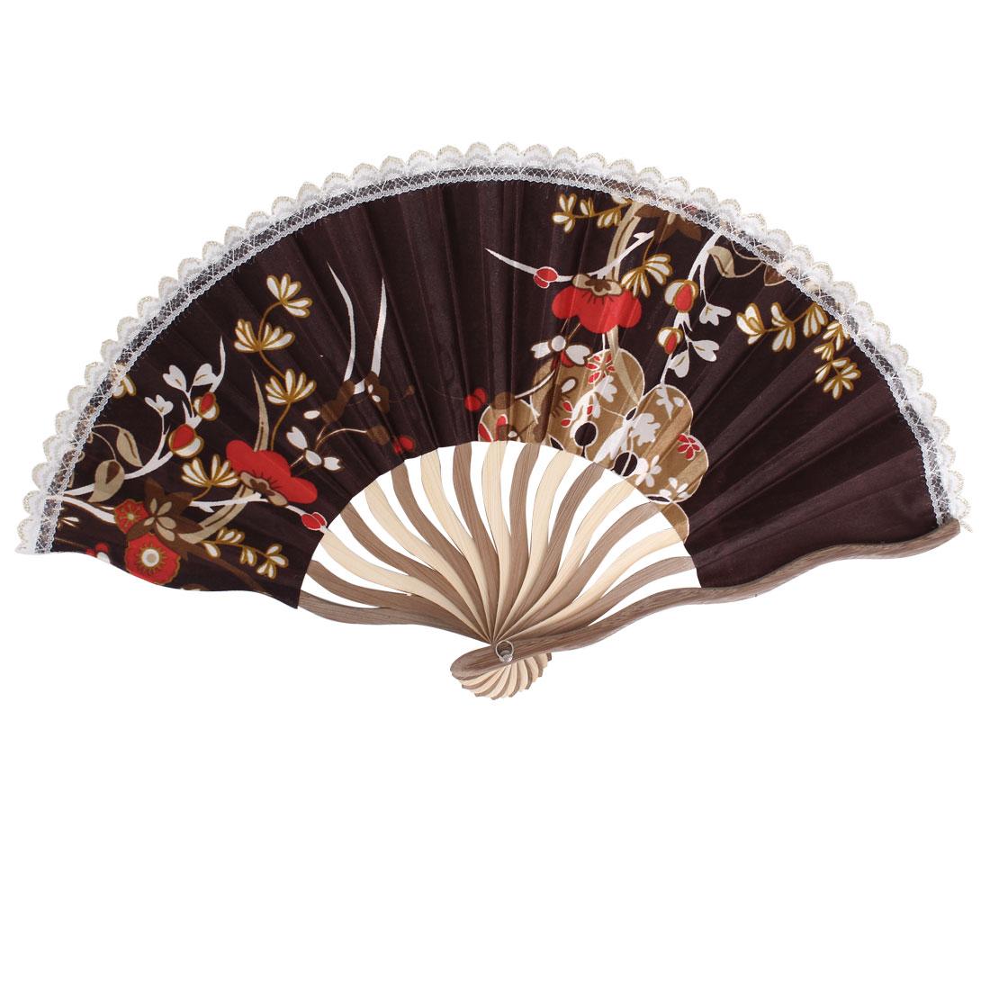 Wood Frame Flowers Pattern Lace Rim Dancing Party Folding Hand Fan Brown