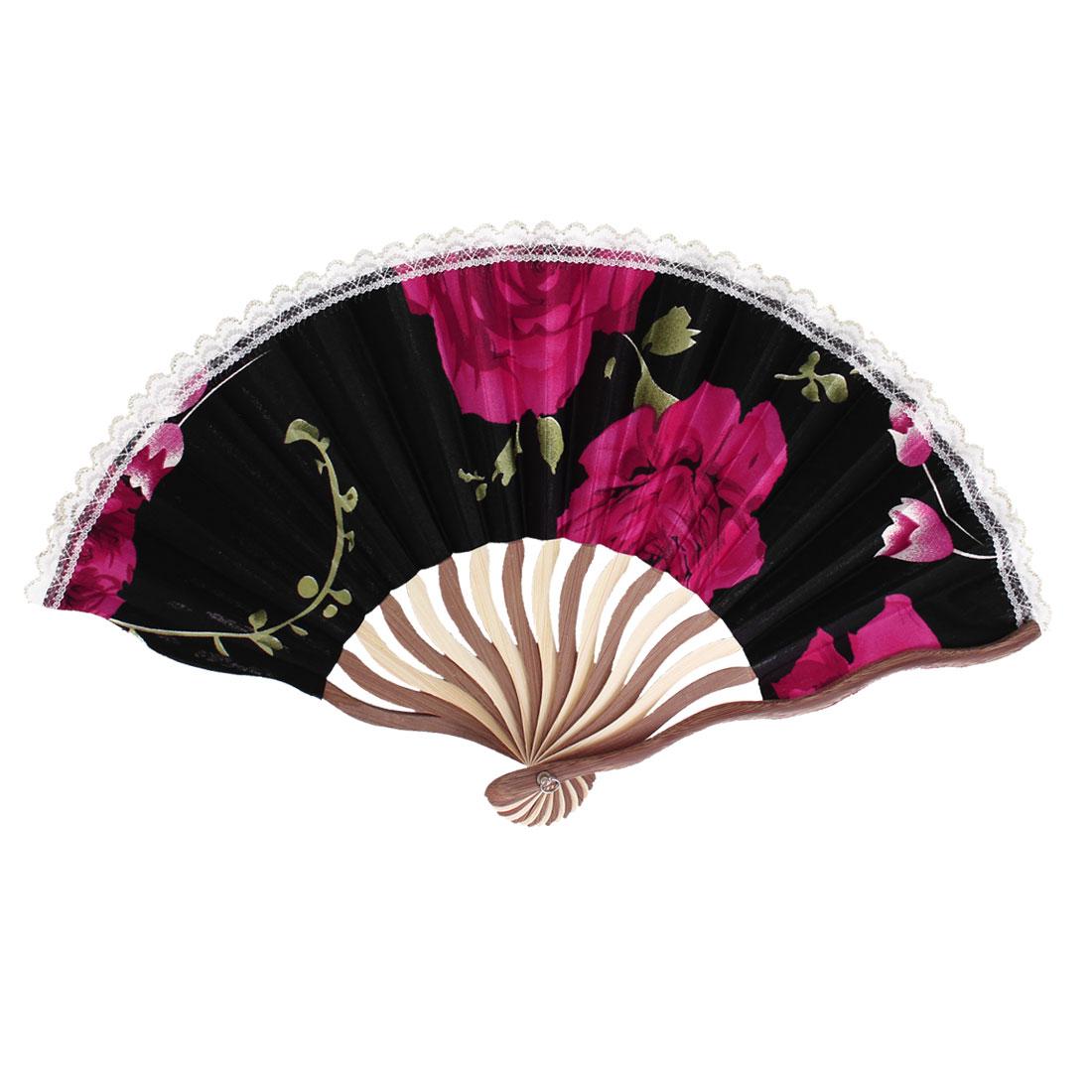 Wood Frame Flowers Pattern Lace Rim Dancing Party Folding Hand Fan Black