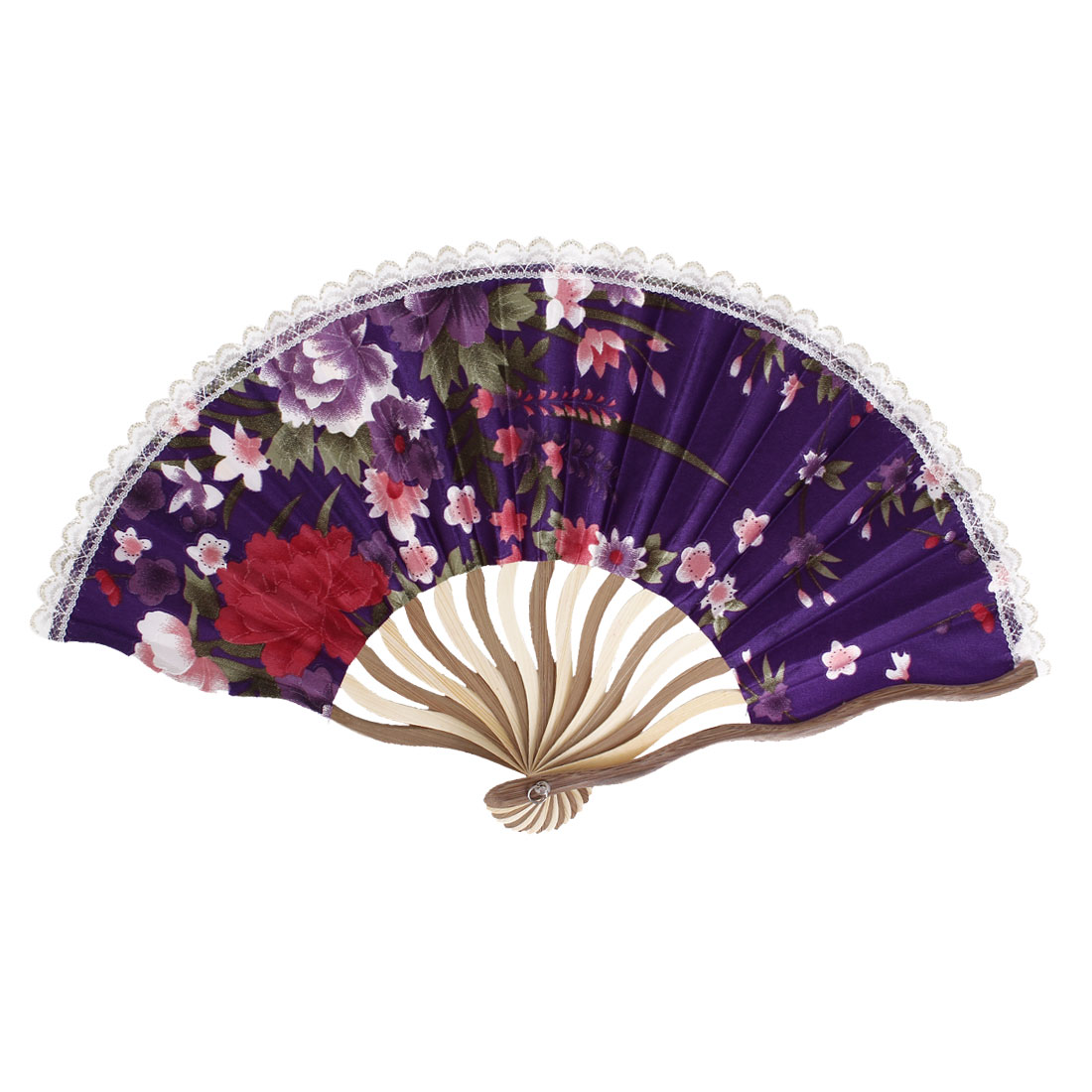 Wood Frame Flowers Pattern Lace Rim Wedding Party Folding Hand Fan Purple