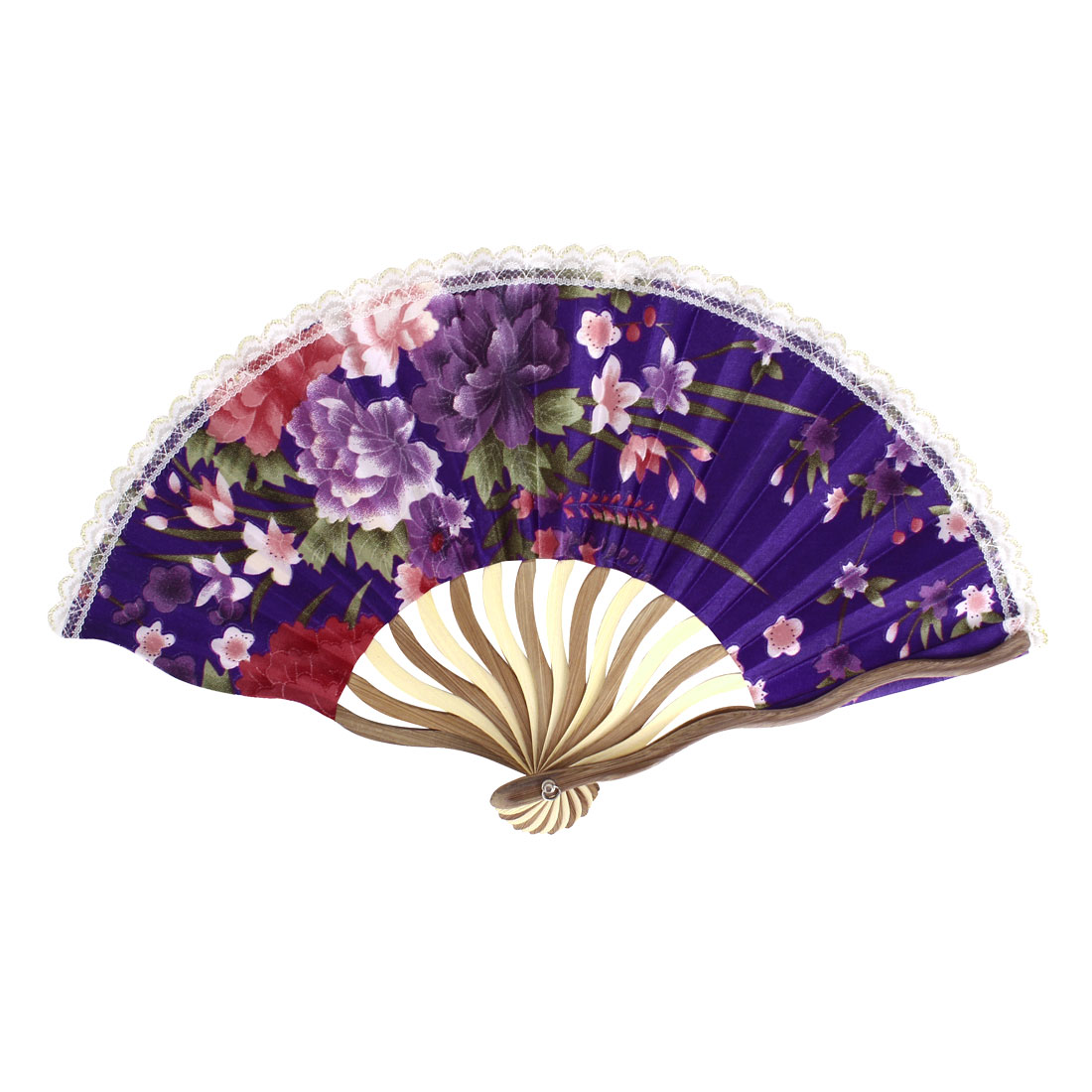Wood Frame Flowers Pattern Lace Rim Dancing Party Folding Hand Fan Purple