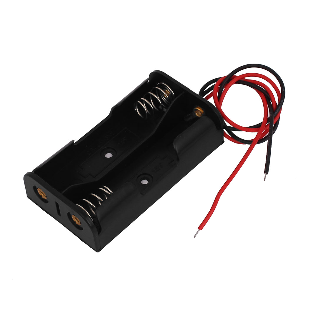 Black Plastic Shell 2-Wire 2 x 1.5V AA Battery Holder Case Box