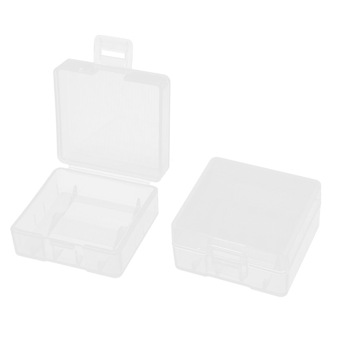 Clear Rectangle Storage Box Case Container 2Pcs for 2 x 18350 Batteries