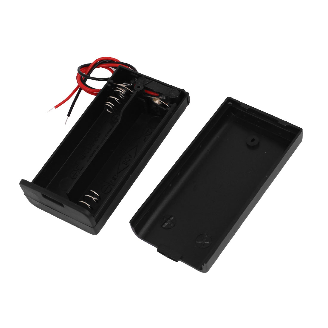 Black Shell 2-Wire 2 x 1.5V AA Battery Holder Case Box w Cover Switch