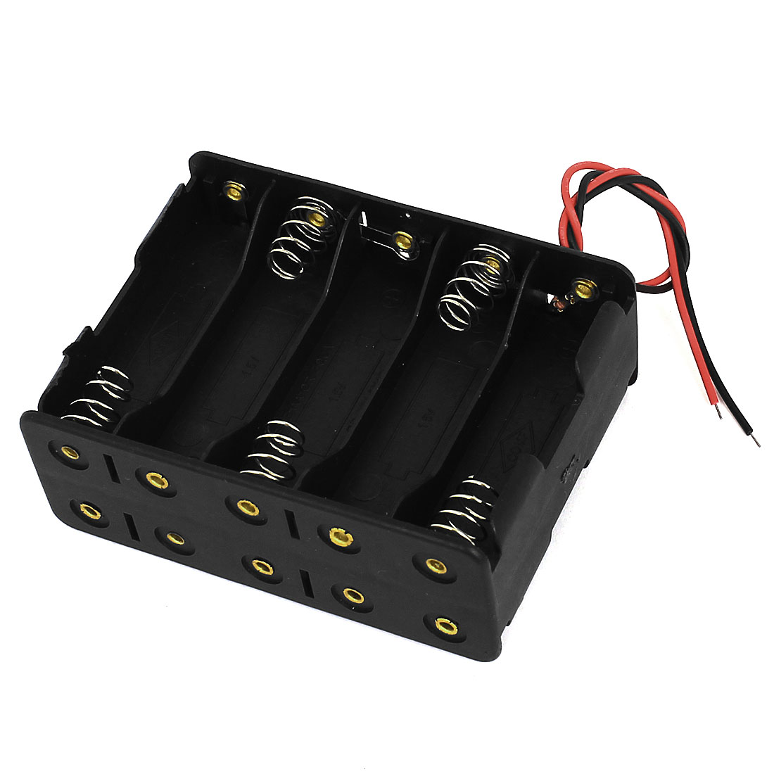 Black Plastic Shell 2-Wire 10 x 1.5V AA Battery Holder Case Box