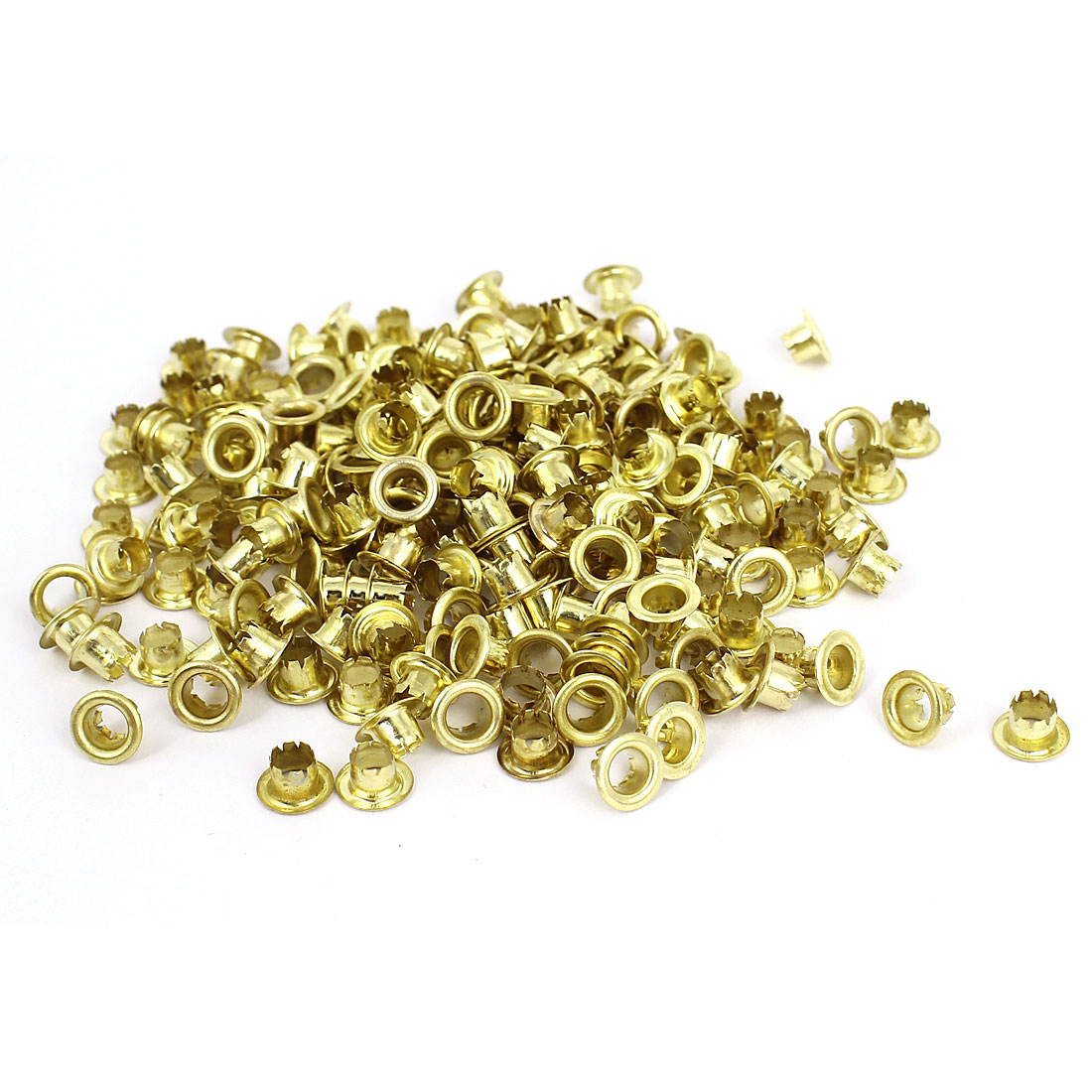 200Pcs Round Shaped Gold Tone Metal Eyelet Grommet for Leather Craft Belts