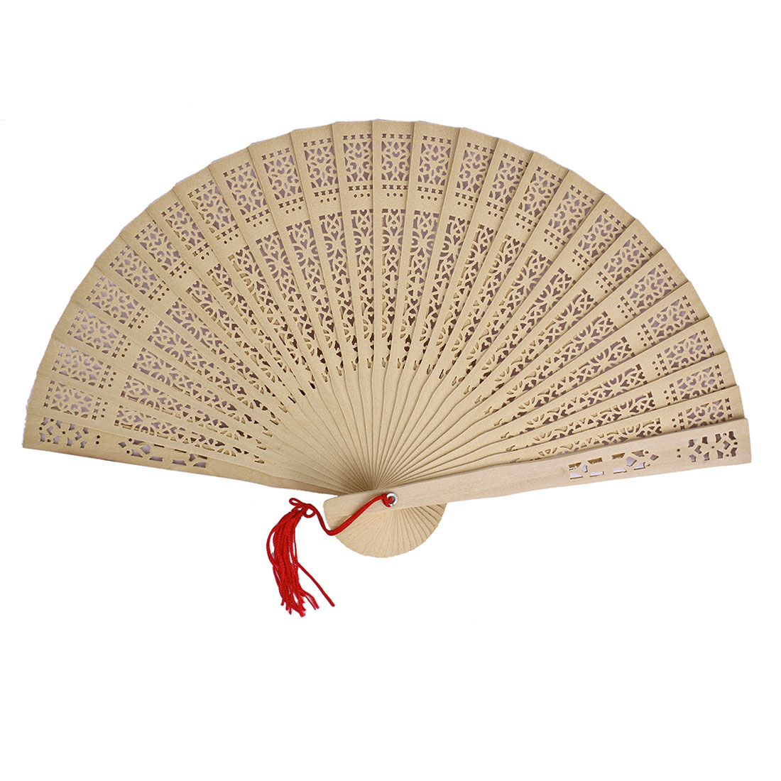 Women Portable Hollow Out Design Wooden Folding Hand Fan Beige