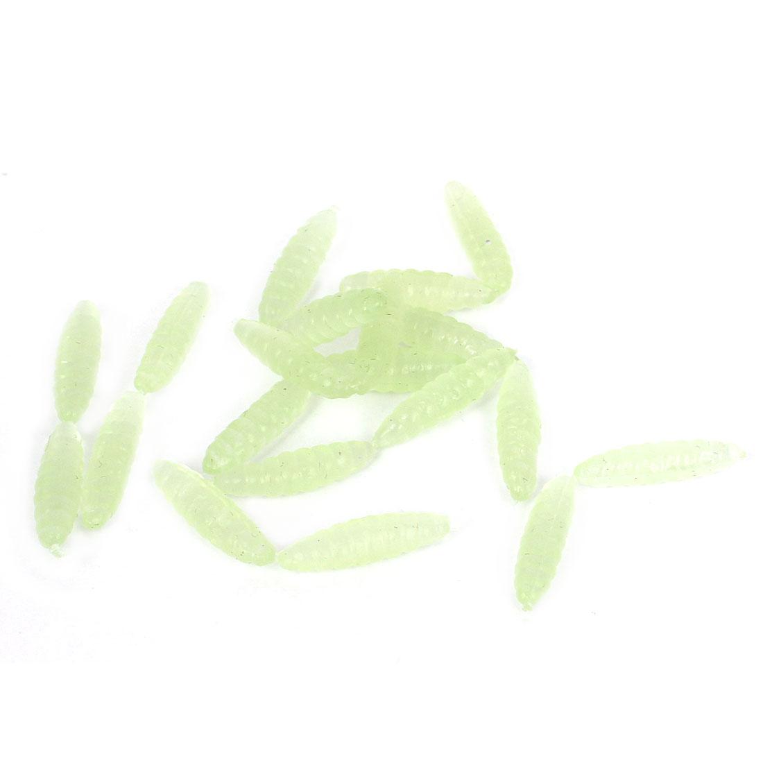 20Pcs Light Green Silicone Vivid Maggots Grubs Worms Fish Fishing Tackle Lure Baits