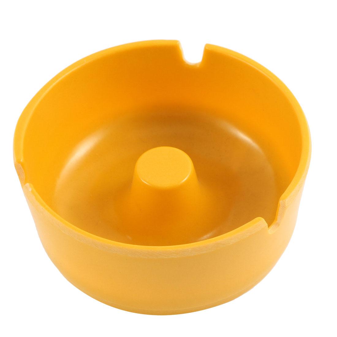 Restaurant Plastic Three Groove Design Cigarette Holder Ashtray 10cm Dia Yellow