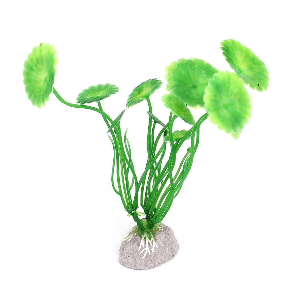 Artificial Plastic Aquarium Fish Tank Fake Plant Lotus Leaf Decoration Green