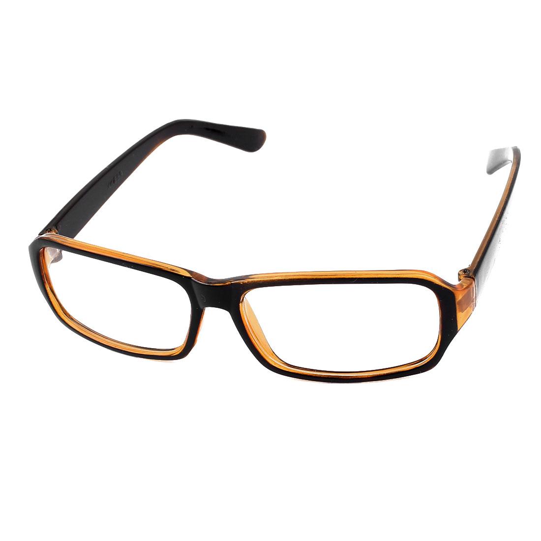 Unisex Single Bridge Rectangle Lens Eyewear Plain Glasses Orange Black