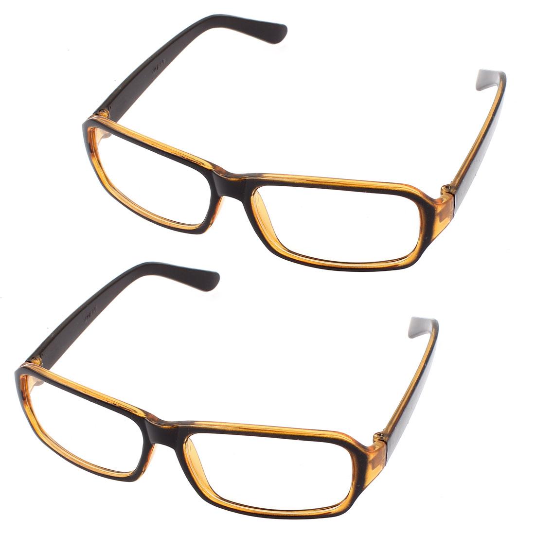 Unisex Single Bridge Clear Lens Eyewear Plain Glasses Orange Black 2Pcs