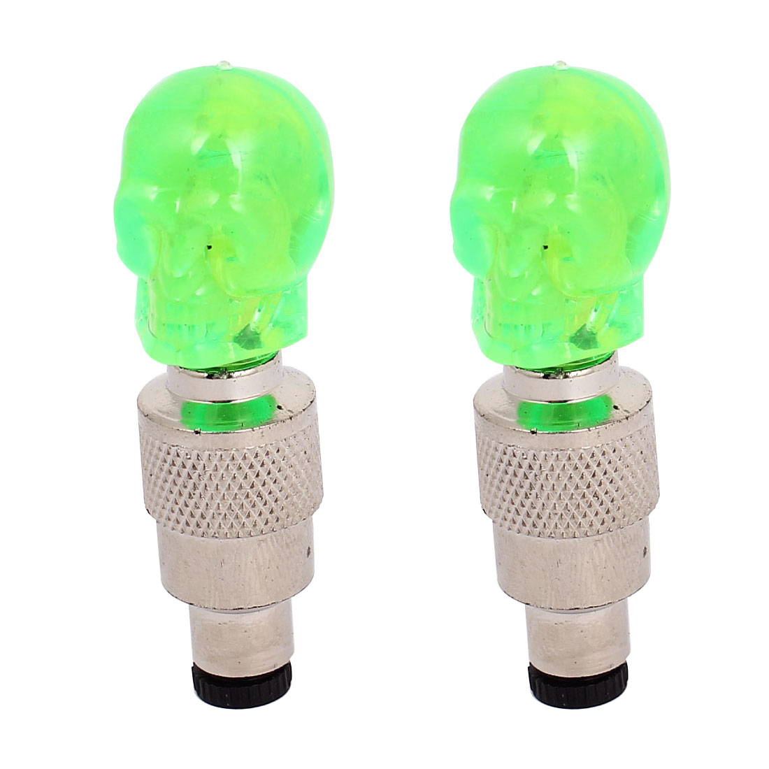 2pcs Bicycle LED Flash Tyre Green Skull Light Neon Wheel Spoke Tire Valve Dust Cap