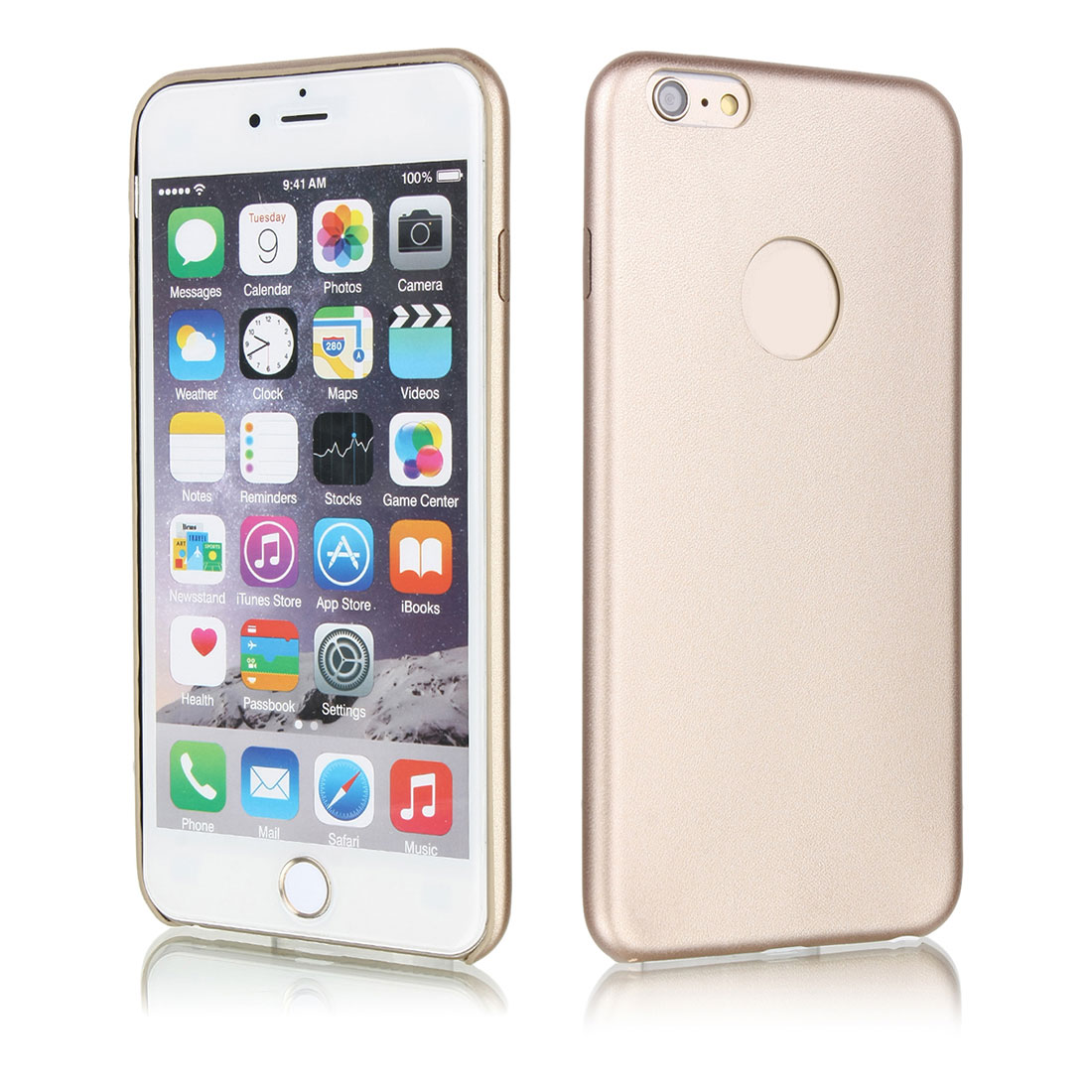 Luxury Ultra-thin PU Leather Hard Back Case Cover For Apple iPhone 6 Plus Gold Tone