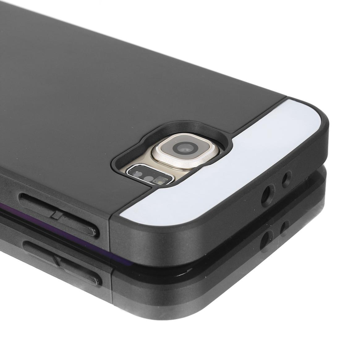 Card Pocket ShockProof Slim Hybrid Wallet Case Cover fr Galaxy S6 & Edge Black