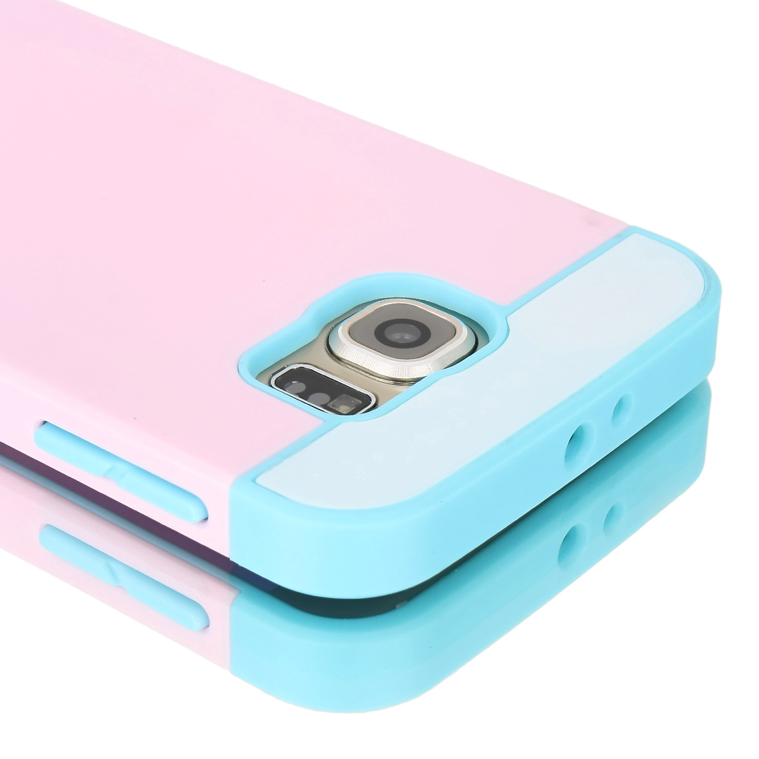 Card Pocket ShockProof Slim Hybrid Wallet Case Cover for Galaxy S6 & Edge Pink