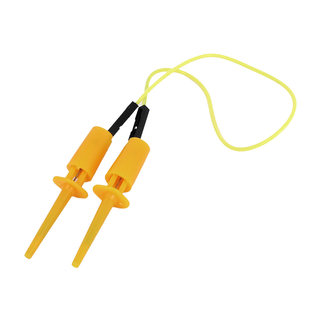 Yellow Plastic Insulation Female/Female Testing Test Lead Hook Clip Clamp Cable