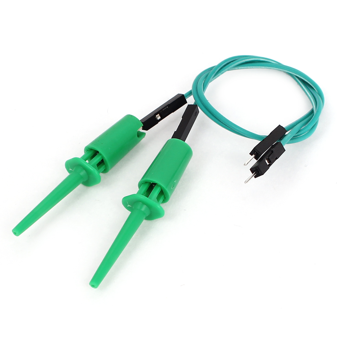 2pcs Green Plastic Covered Insulation F/M Testing Test Lead Hook Clip Clamp