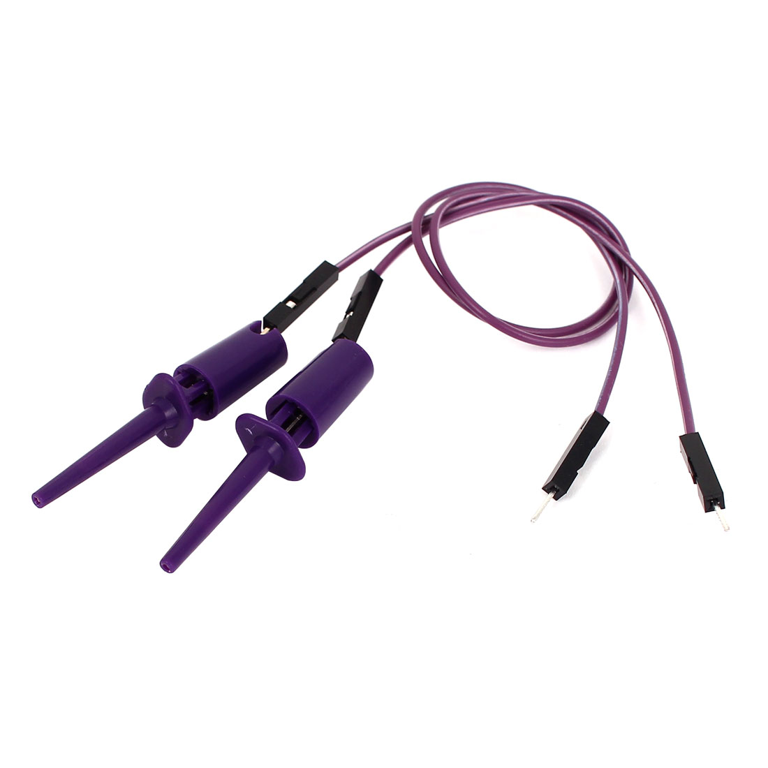 2pcs Purple Plastic Covered Insulation F/M Testing Test Lead Hook Clip Clamp