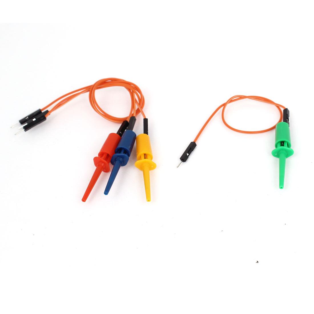 4 Pcs Grabber Test Probe Single Hook Clip Cable Set Assorted Color