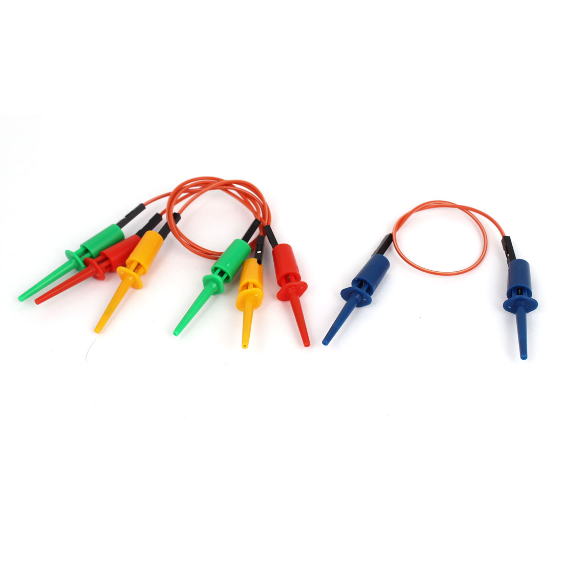 """4pcs 28cm 11"""" Dual Female Test Hook Clip Leads Probe Cable 4 Colors"""