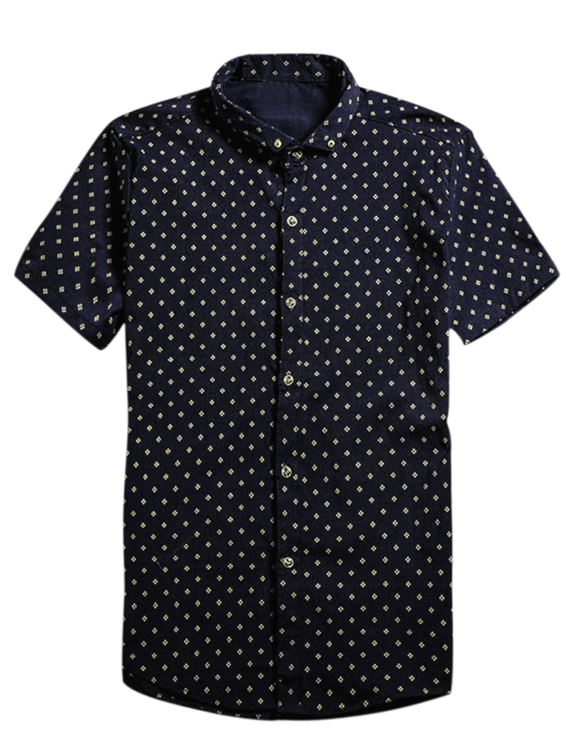 Men Short Sleeve Point Collar Button Down Casual Shirt Navy Blue S