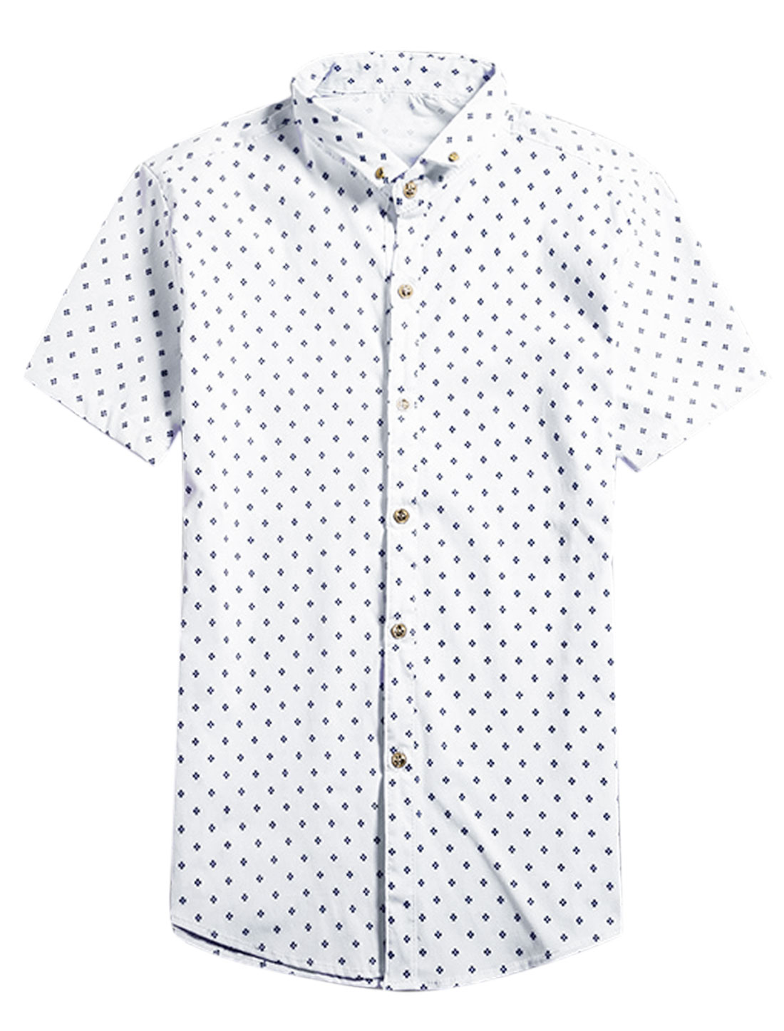 Men Short Sleeve Novelty Print Button Down Leisure Shirts White S