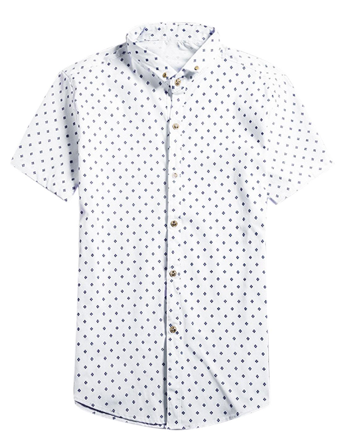 Men Short Sleeve Novelty Print Button Down Leisure Shirts White S