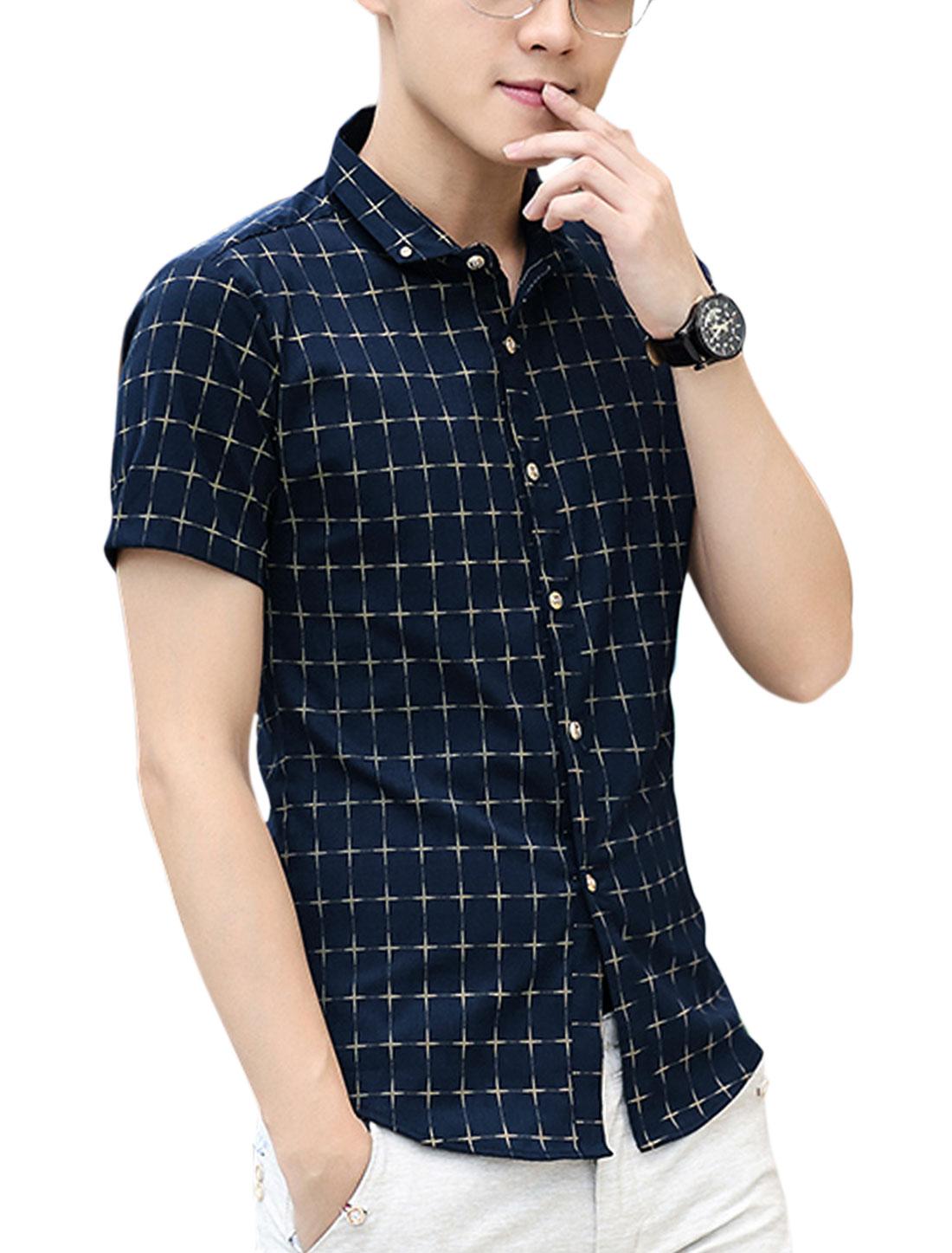 Men Short Sleeve Point Collar Button Down Leisure Shirt Navy Blue S