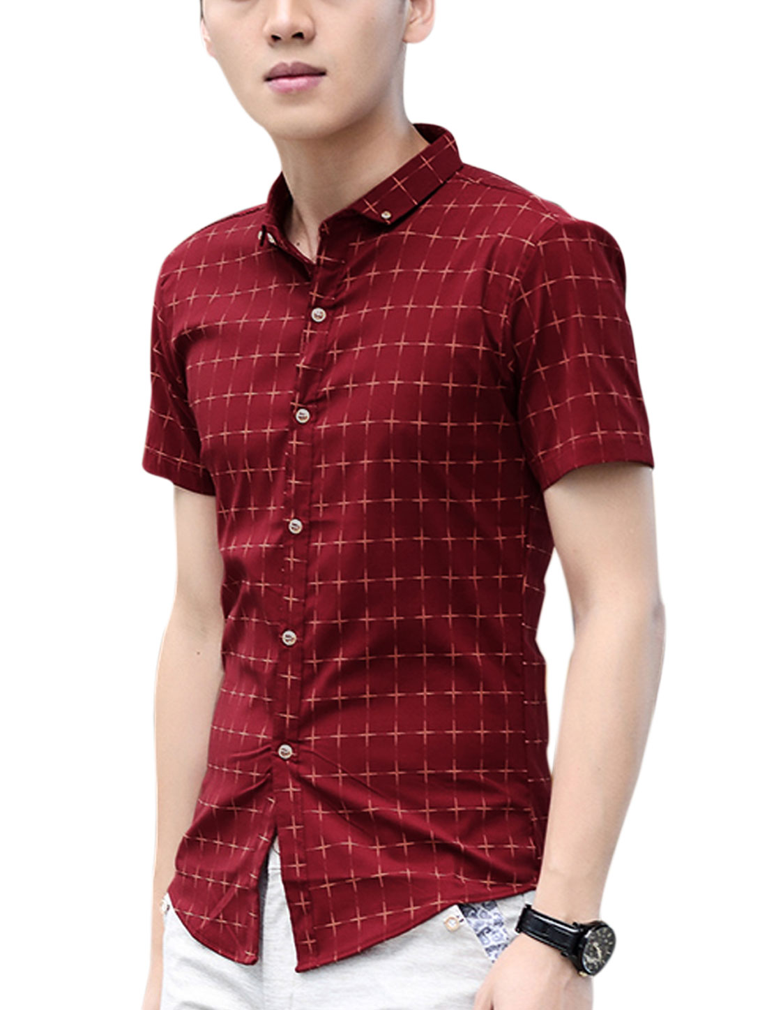 Men Short Sleeve Point Collar Check Print Button Down Casual Shirt Burgundy S
