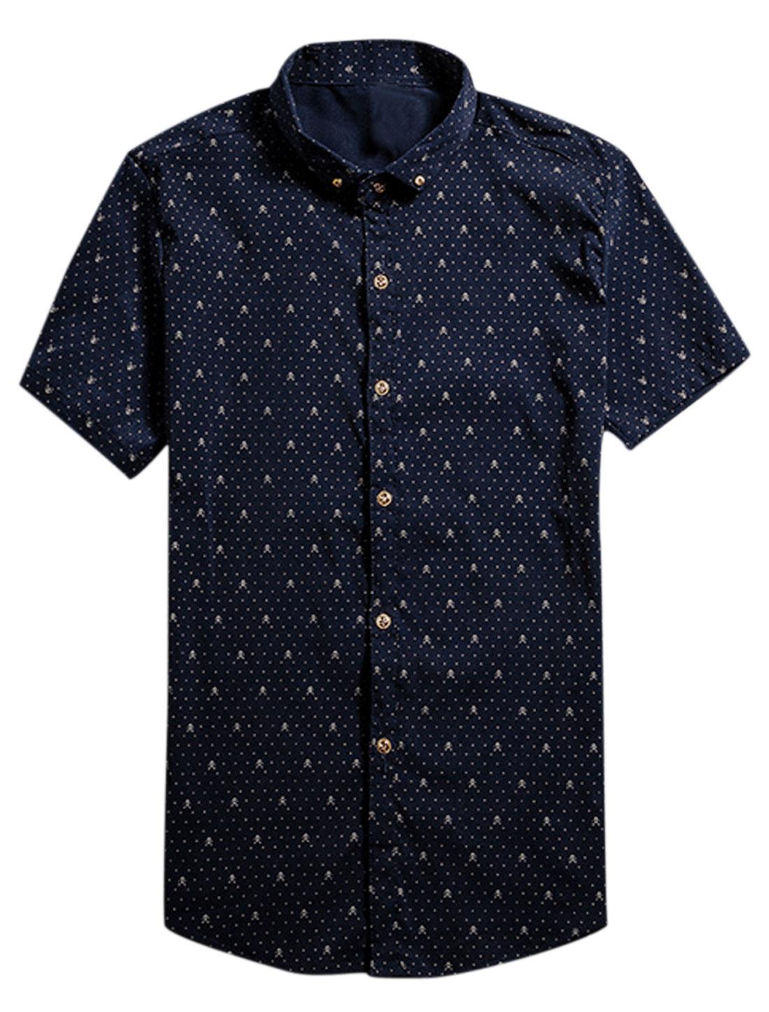 Men Short Sleeve Point Collar Dots Print Button Down Shirts Navy Blue S