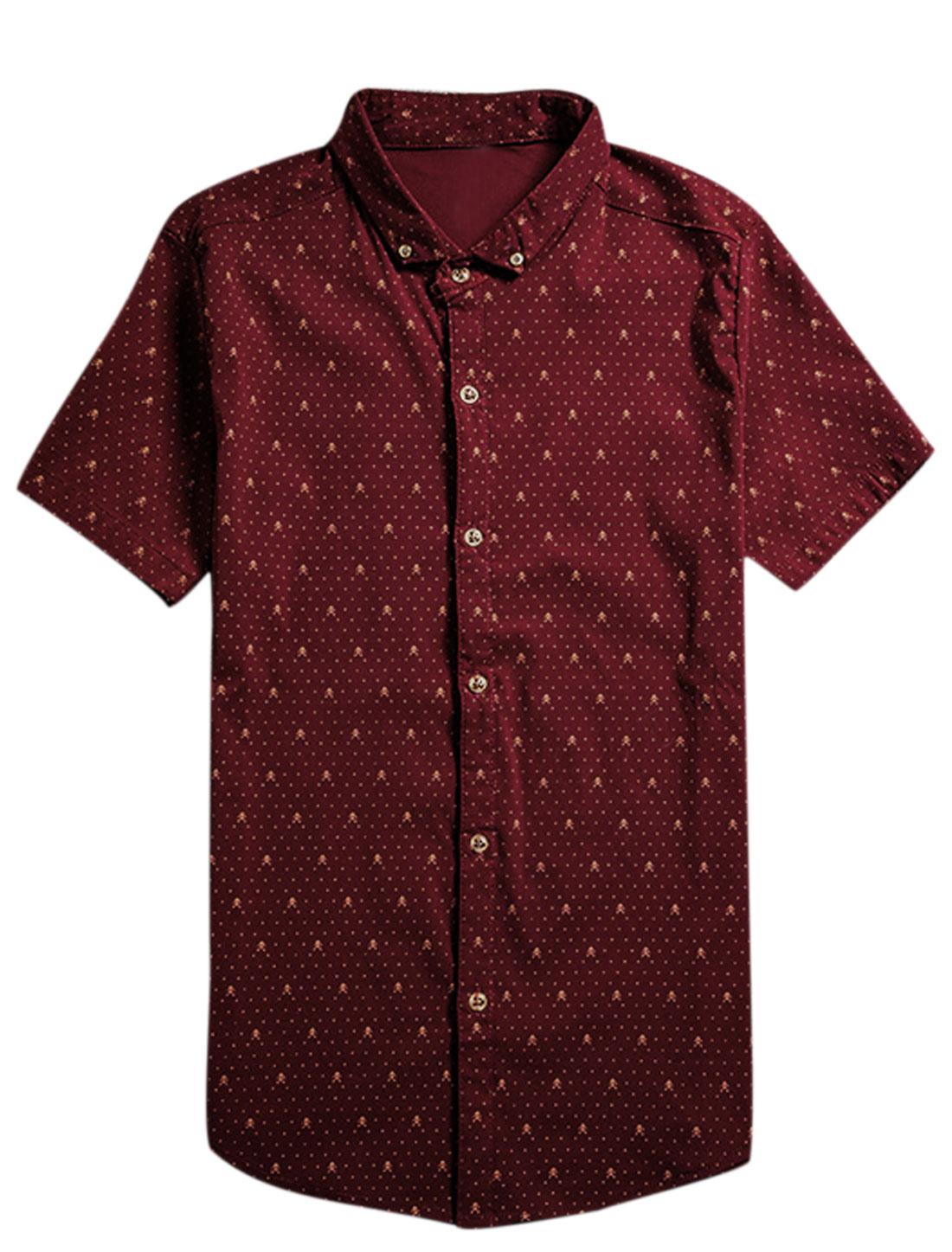 Men Short Sleeve Point Collar Skull Print Button Down Shirt Burgundy S
