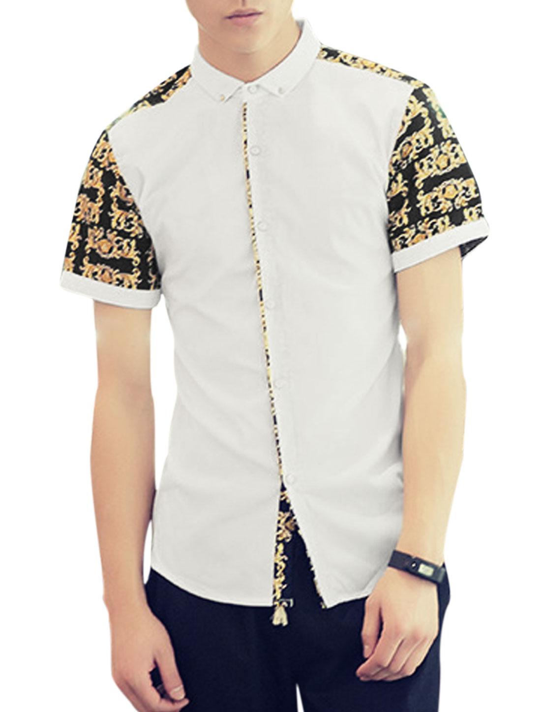 Men Short Sleeve Novelty Print Button Up Leisure Shirts White S