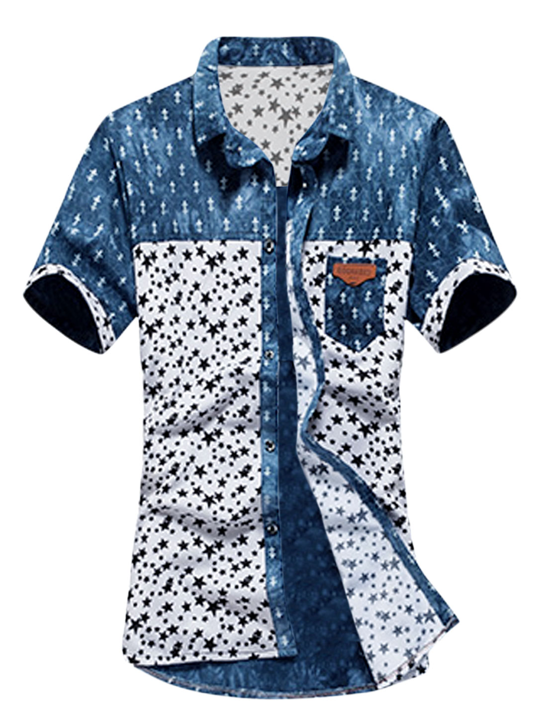 Men Short Sleeve Pocket Button Up Stars Prints Shirt White Navy Blue S