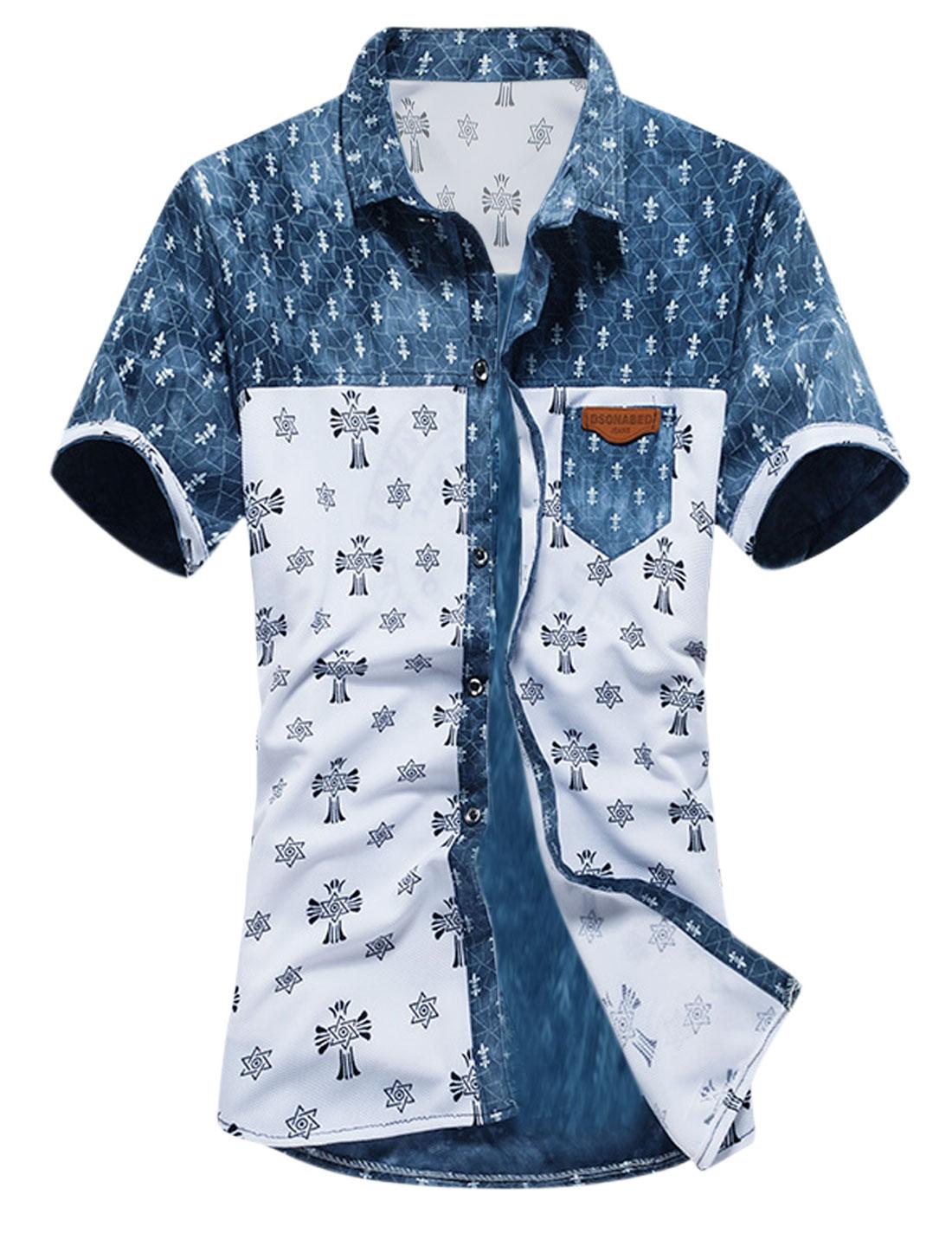 Men Short Sleeve Button Up Novelty Prints Casual Shirt White Navy Blue S