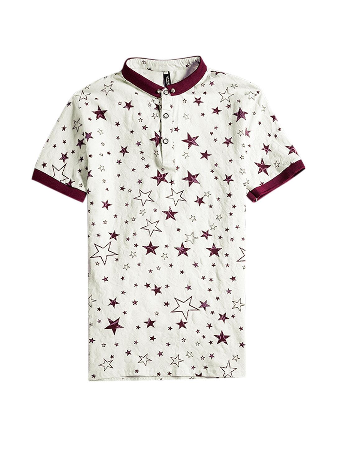 Man Short Sleeves Stars Prints Polo Shirts Burgundy White S